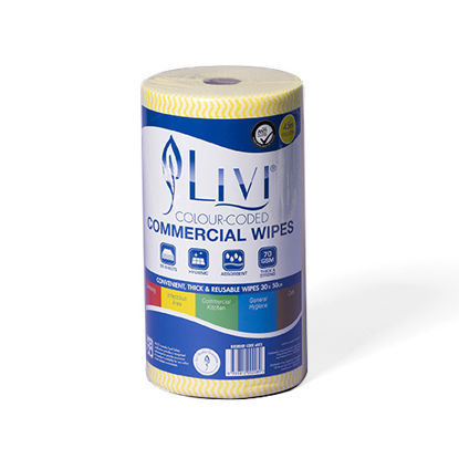 LIVI Essentials Commercial Wipes (Yellow) (Total 4 Rolls)