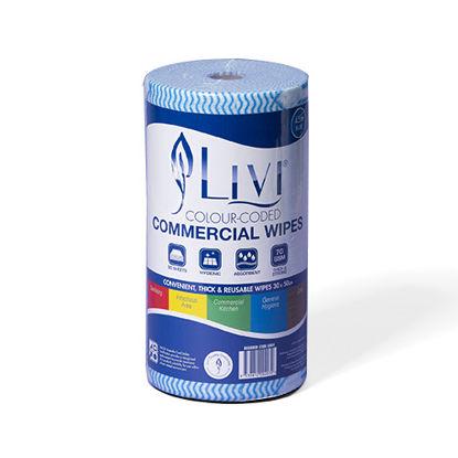 LIVI Essentials Commercial Wipes (Blue) (Total 4 Rolls)