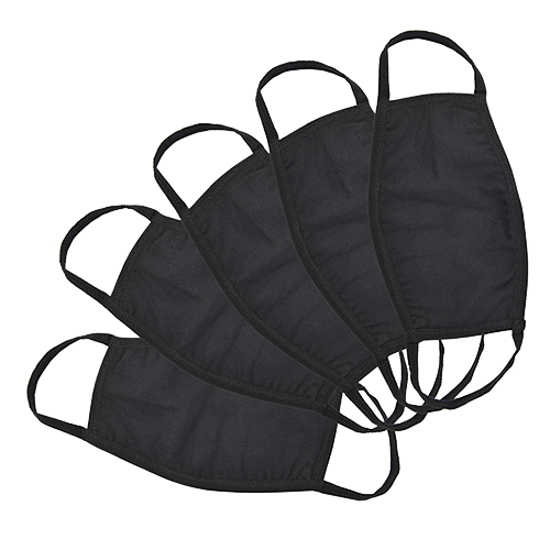 Cotton Face Mask - Black - 3 layers (Total 5)
