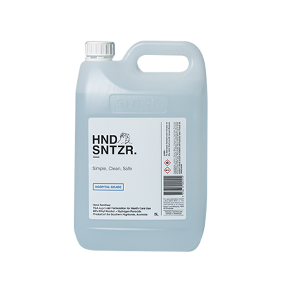 HND SNTZR Liquid Hand Sanitiser 5L w/ screw top cap (Total 2 Bottles)