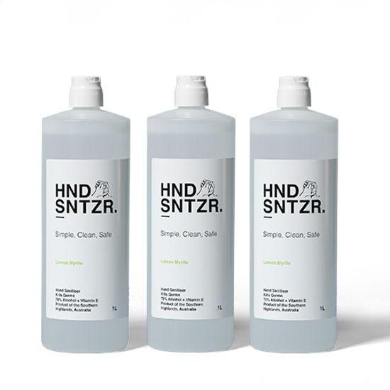 Hand Sanitiser. HND SNTZR. 70% Alcohol. 1 Litre. 6 Bottles